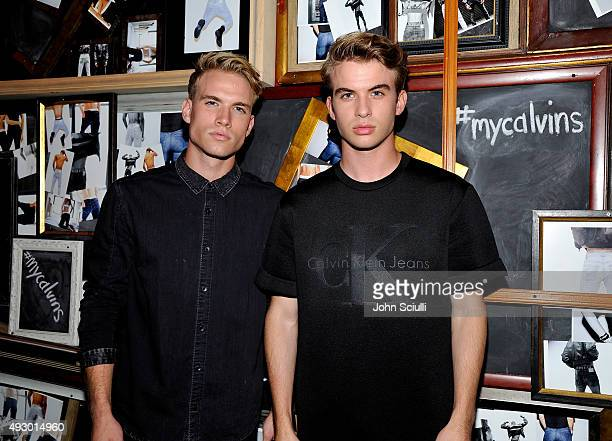 Internet personalities Austin Rhodes and Aaron Rhodes attend the Calvin Klein Jeans hosted music event in Los Angeles to celebrate the fall 2015 ad...