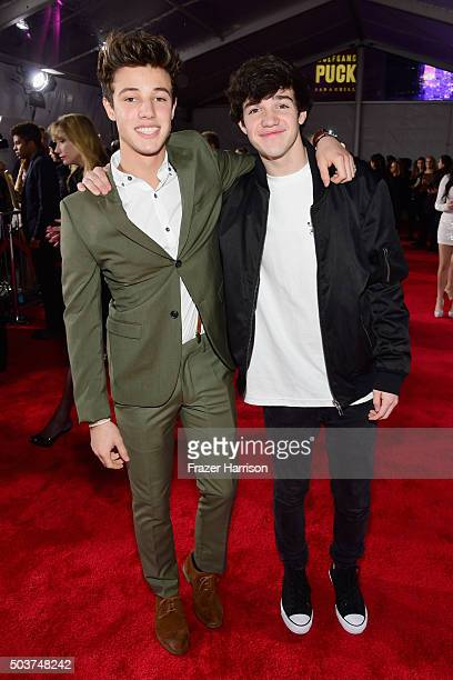 Internet personalities Cameron Dallas and Aaron Carpenter attend the People's Choice Awards 2016 at Microsoft Theater on January 6 2016 in Los...
