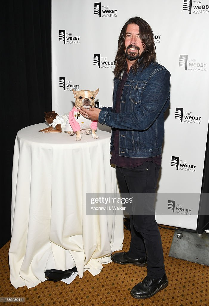 Internet personalities Chloe Kardoggian, Chloe the Mini Frenchie, and musician <a gi-track='captionPersonalityLinkClicked' href=/galleries/search?phrase=Dave+Grohl&family=editorial&specificpeople=202539 ng-click='$event.stopPropagation()'>Dave Grohl</a> attend the 19th Annual Webby Awards on May 18, 2015 in New York City.