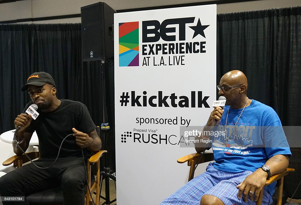 Internet personalities Christian Bright (L) and JumpmanBostic attend SneakerCon presented by Sprite, Rush Card, & FDA during the 2016 BET Experience at Los Angeles Convention Center on June 25, 2016 in Los Angeles, California.