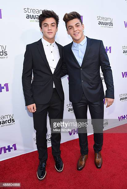 Internet personalities Ethan Dolan and Grayson Dolan attend VH1's 5th Annual Streamy Awards at the Hollywood Palladium on Thursday September 17 2015...