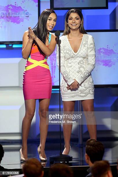 Internet personalities Eva Gutowski and Andrea Russett speak onstage during the 6th annual Streamy Awards hosted by King Bach and live streamed on...