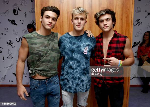 Internet personalities Grayson Dolan Jake Paul and Ethan Dolan attend HM Loves Coachella Tent during day 1 of the Coachella Valley Music Arts...
