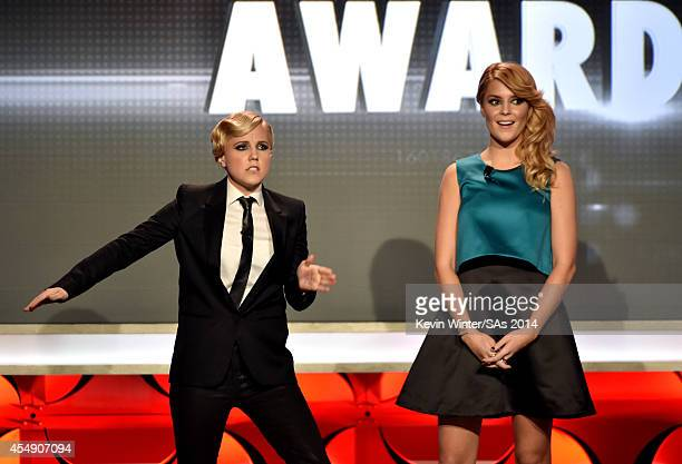 Internet personalities Hannah Hart and Grace Helbig speak onstage during the 4th Annual Streamy Awards presented by CocaCola on September 7 2014 in...