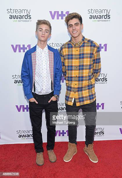 Internet personalities Jack and Jack attend the 5th Annual Streamy Awards at Hollywood Palladium on September 17 2015 in Los Angeles California