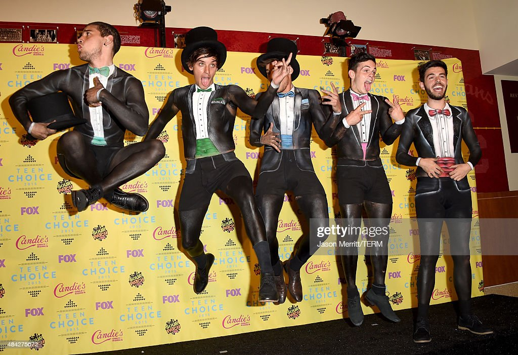 Internet personalities Jai Brooks, Beau Brooks, Luke Brooks, Daniel Sahyounie, and James Yammouni of The Janoskians pose in the press room during the Teen Choice Awards 2015 at the USC Galen Center on August 16, 2015 in Los Angeles, California.