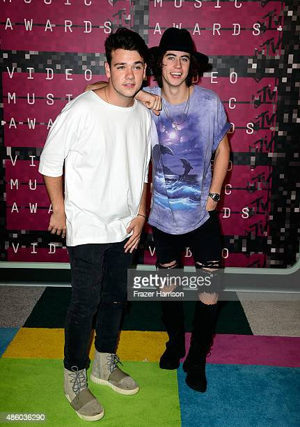 Internet personalities Jake Foushee and Nash Grier attend the 2015 MTV Video Music Awards at Microsoft Theater on August 30 2015 in Los Angeles...