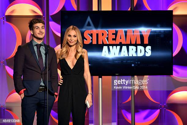 Internet personalities Joey Graceffa and Brooke HorrellMahan speak onstage during the 4th Annual Streamy Awards presented by CocaCola on September 7...