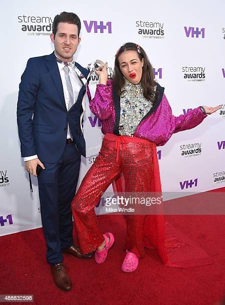 Internet personalities Joshua David Evans and Colleen Ballinger aka Miranda Sings attends VH1's 5th Annual Streamy Awards at the Hollywood Palladium...
