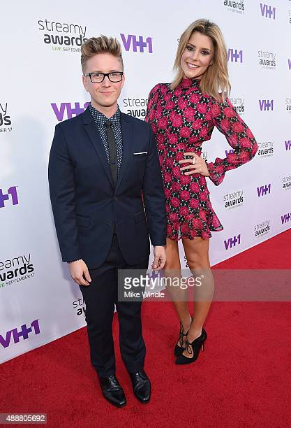 Internet personalities Tyler Oakley and Grace Helbig attend VH1's 5th Annual Streamy Awards at the Hollywood Palladium on Thursday September 17 2015...