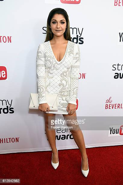 Internet personality Andrea Russett attends the 6th annual Streamy Awards hosted by King Bach and live streamed on YouTube at The Beverly Hilton...