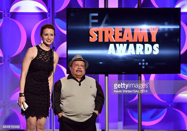 Internet personality Ashley Clements and TV personality Chuy Bravo speak onstage during the 4th Annual Streamy Awards presented by CocaCola on...