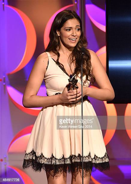 Internet personality Bethany Mota accepts the Fashion Program award during the 4th Annual Streamy Awards presented by CocaCola on September 7 2014 in...