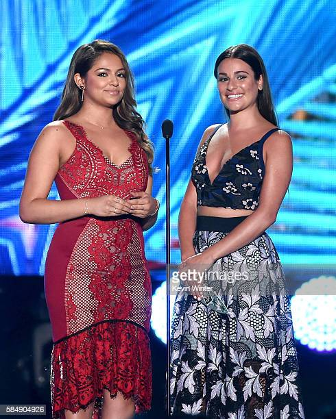 Internet personality Bethany Mota and actress Lea Michele speak onstage during Teen Choice Awards 2016 at The Forum on July 31 2016 in Inglewood...