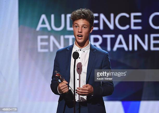 Internet personality Cameron Dallas accepts the award for Entertainer of the Year at VH1's 5th Annual Streamy Awards at the Hollywood Palladium on...