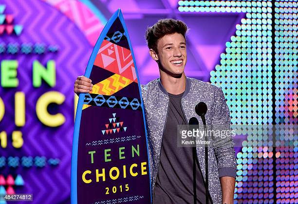 Internet personality Cameron Dallas accepts the Choice Web Star Male Award onstage during the Teen Choice Awards 2015 at the USC Galen Center on...