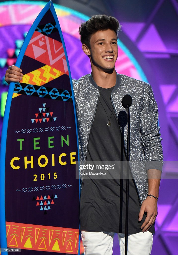 Internet personality Cameron Dallas speaks onstage during the Teen Choice Awards 2015 at the USC Galen Center on August 16 2015 in Los Angeles...