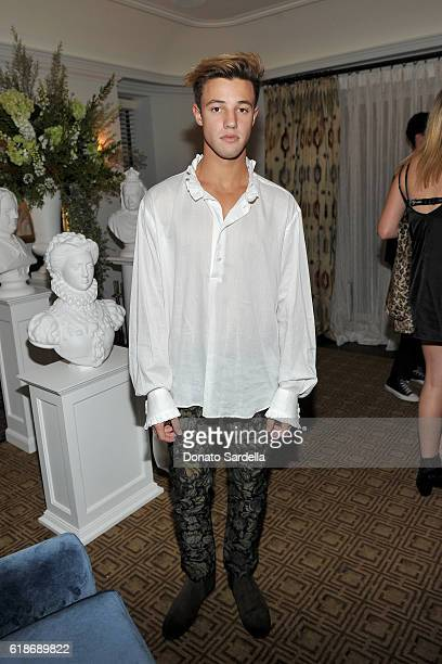 Internet personality Cameron Dallas wearing Burberry attends the Vanity Fair and Burberry event celebrating Felicity Jones and the British Academy...