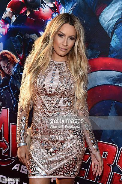Internet personality Desi Perkins attends the world premiere of Marvel's 'Avengers Age Of Ultron' at the Dolby Theatre on April 13 2015 in Hollywood...