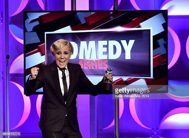 Internet personality Hannah Hart accepts the Comedy Series award onstage during the 4th Annual Streamy Awards presented by CocaCola on September 7...