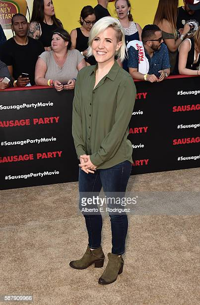 Internet personality Hannah Hart attends the premiere of Sony's 'Sausage Party' at Regency Village Theatre on August 9 2016 in Westwood California