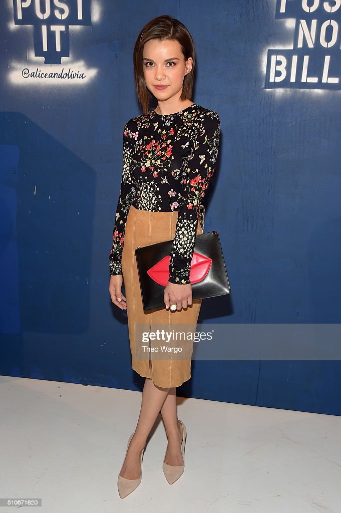 Internet personality Ingrid Nilsen attends the Alice + Olivia By Stacey Bendet - Arrivals at The Gallery, Skylight at Clarkson Sq on February 16, 2016 in New York City.