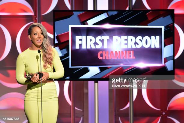 Internet personality Jenna Marbles accepts the First Person Channel award onstage the 4th Annual Streamy Awards presented by CocaCola on September 7...