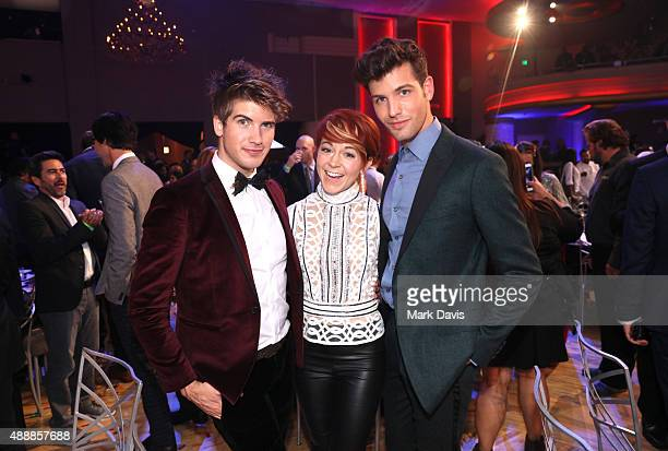 Internet personality Joey Graceffa musician Lindsey Stirling and internet personality Daniel Christopher Preda attend VH1's 5th Annual Streamy Awards...