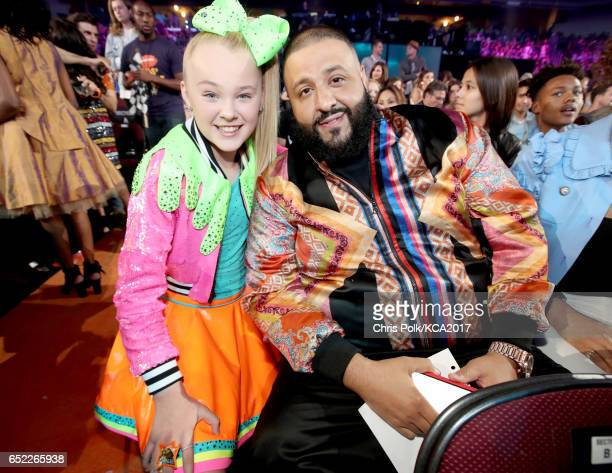 Internet personality JoJo Siwa and recording artist DJ Khaled at Nickelodeon's 2017 Kids' Choice Awards at USC Galen Center on March 11 2017 in Los...