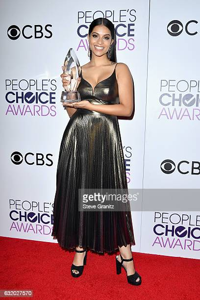 Internet personality Lilly Singh poses with an award in the press room during the People's Choice Awards 2017 at Microsoft Theater on January 18 2017...