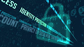 Identity protection and data encryption in cyber space 3D illustration. Internet communication and cyber security concept with padlocks symbol on digital background.