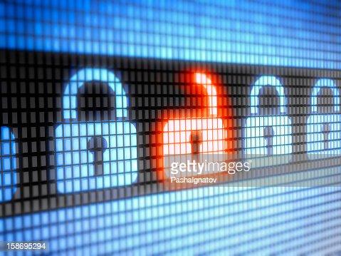 LED internet security lock and unlock symbols : Stock Photo
