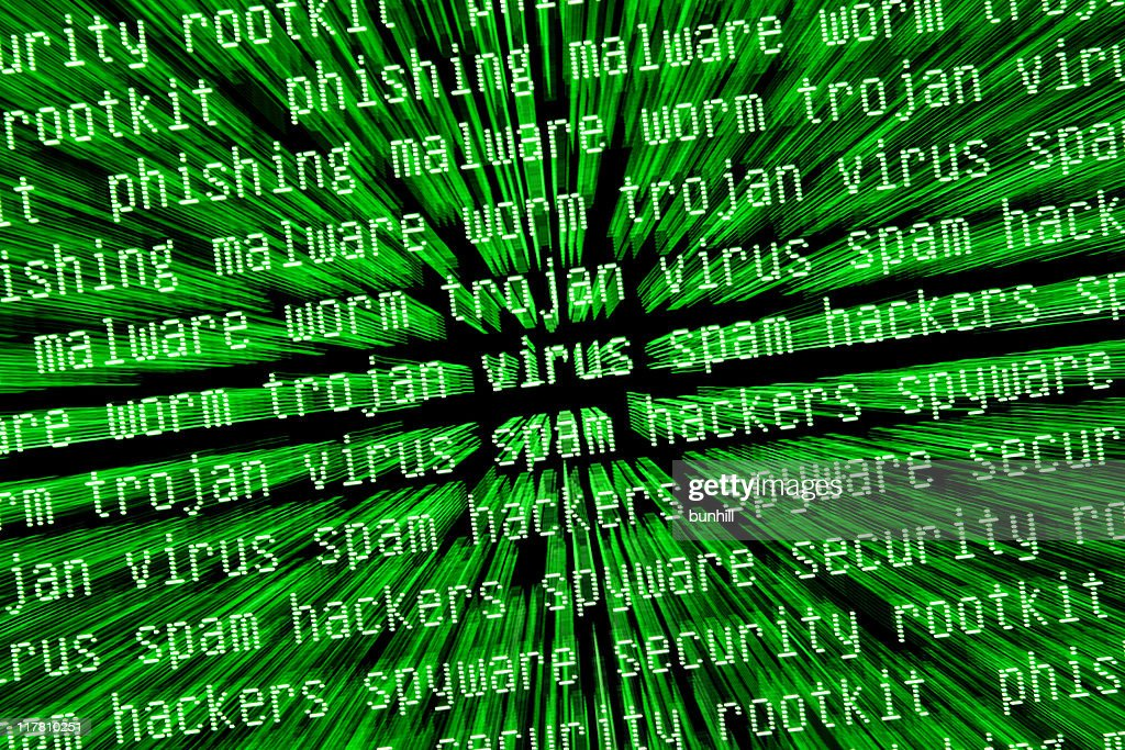 internet security virus threat warnings on monitor screen in green