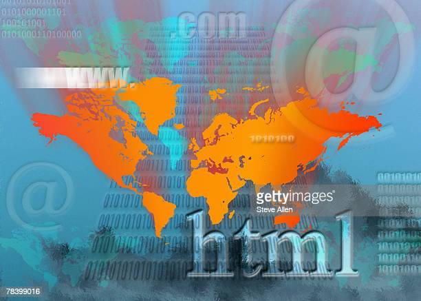Internet symbols and world map