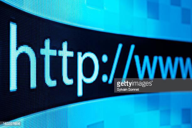 Internet url on a computer screen,close-up