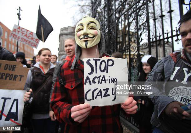 Internet users hold a protest march in Dublin against SOPA and ACTA legislation being implemented by the Irish Government and EU PRESS ASSOCIATION...