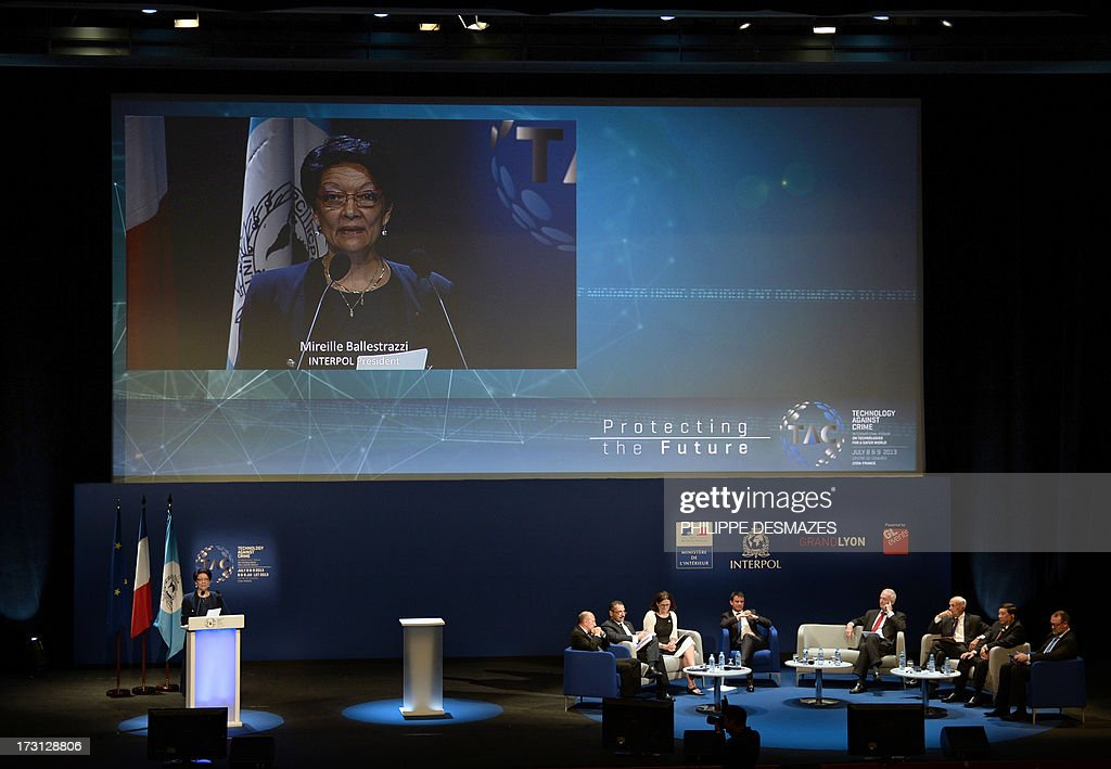 Interpol President Mireille Ballestrazzi speaks at the opening plenary session of an Interpol international forum on Technology Against Crime (TAC) on July 8, 2013, in Lyon, southeastern France.