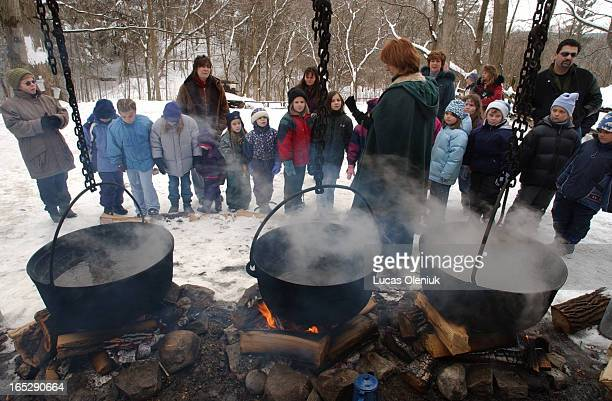 Interpreter Bernadette McSorley explains the old fashioned method of maple syrup production to visitors of the Sugarbush Maple Syrup Festival at the...