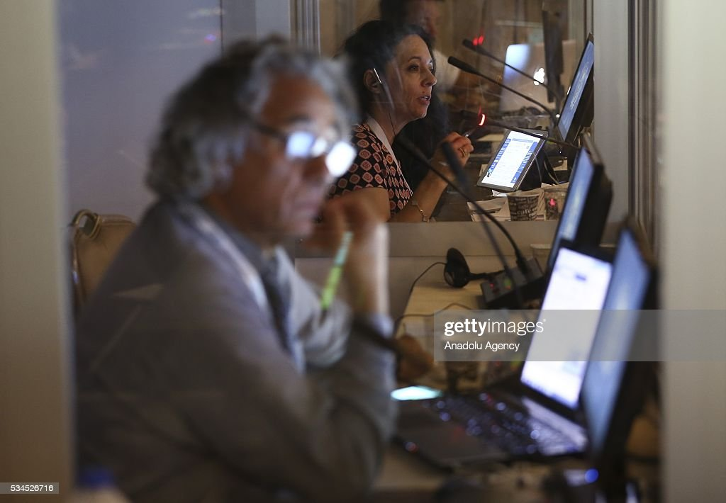 interpreters translate simultaneously during Midterm Review of the Istanbul Programme of Action at the Titanic Hotel in Antalya, Turkey on May 26, 2016. The Midterm Review conference for the Istanbul Programme of Action for the Least Developed Countries will take place in Antalya, Turkey from 27-29 May 2016. The conference will undertake a comprehensive review of the implementation of the Istanbul Programme of Action by the least developed countries (LDCs) and their development partners and likewise reaffirm the global commitment to address the special needs of the LDCs.