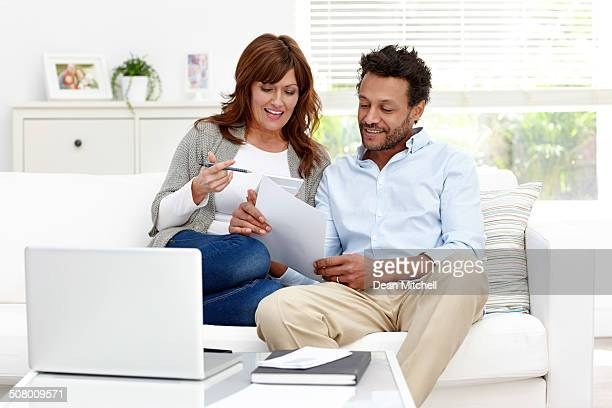 Interracial couple dealing with home finances