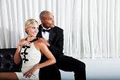 Interracial couple in formalwear