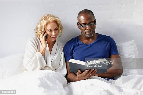 Interracial couple on bed