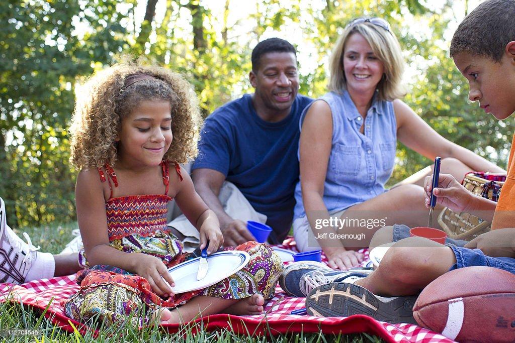 Interracial family having picnic : Stock Photo