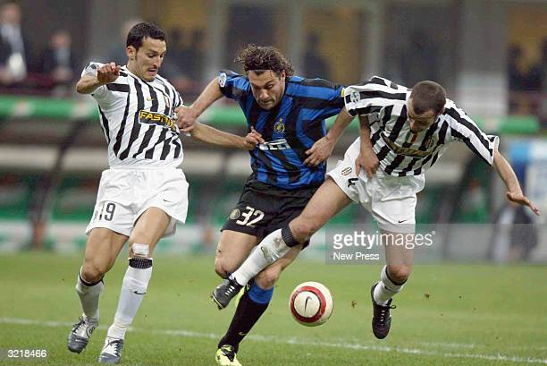 Inter's Christian Vieri challenges Juventus' Gianluca Zambrotta and Paolo Montero during the Italian Serie A match between Internazionale Milan and...