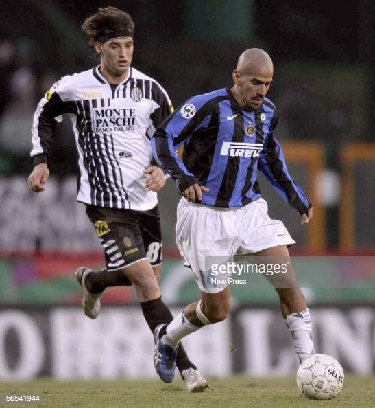 Inter's Jaun Veron competes with Siena's Erjon Bogdani during the Serie A match between Siena and Inter at Artemio Franchi stadium January 8 2006 in...