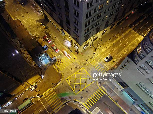 Intersection at night from above