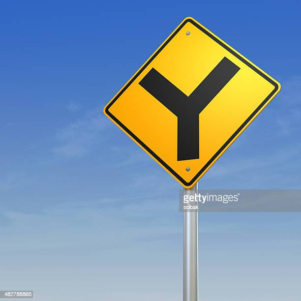 Y intersection forked road warning sign