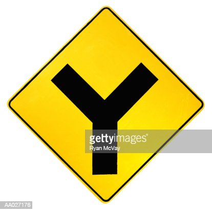 Y Intersection Road Sign Stock Photo | Getty Images Y Intersection Sign