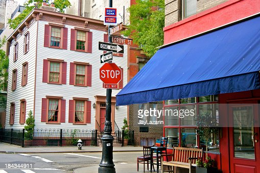 'NYC intersections, Grove & Bedford Streets, West Greenwich Villa'