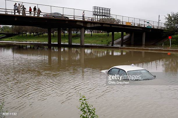 Interstate 10 is flooded and impassable following Hurricane Ike September 14 2008 in Houston Texas Ike caused extensive damage along the Texas Gold...